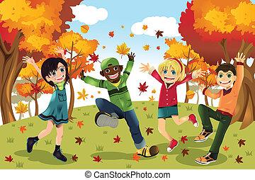 秋, 季節, 子供, 秋