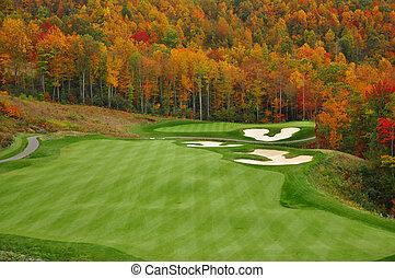 秋, 山, ゴルフコース