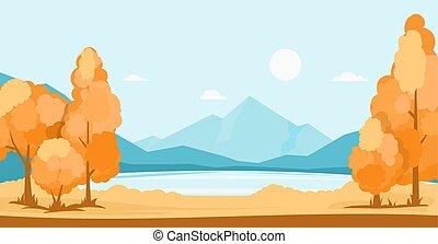 秋, 山, 湖, 風景