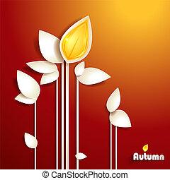 秋, 抽象的, ペーパー, 葉