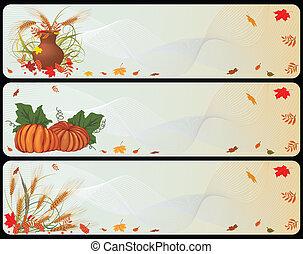 秋, 旗, セット