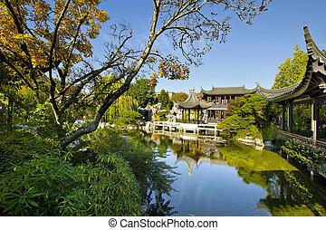 秋, 池, 庭, 中国語