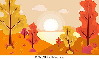 秋, 湖, 田舎, 風景, sunset.