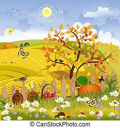 秋, 田園, 木の景色
