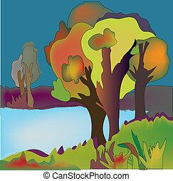 秋, 背景, 木, 湖, イラスト