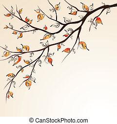 秋, branch., 木
