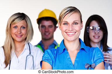 科学者, 医者, multi-profession, -, エンジニア, 女性実業家, 微笑, カメラ