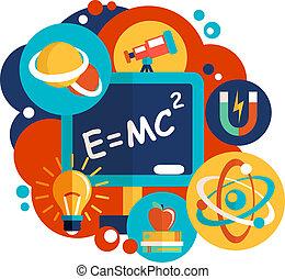 科学, デザイン, 物理学, 平ら
