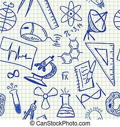 科学, doodles, seamless, パターン
