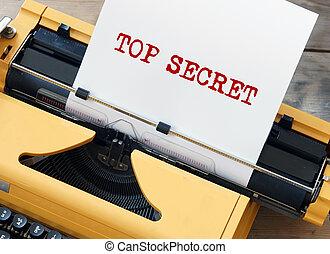 秘密, シート, 上, 古い, タイプライター, ペーパー, 白, 黄色