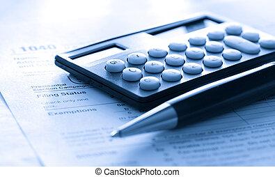 税, 計算機, ペン, 形態
