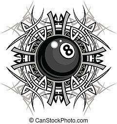 種族, グラフィック, 8, ビリヤード, ボール