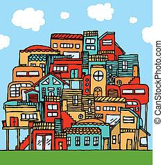 積まれる, 漫画, 共同体, /, 家