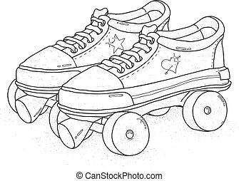 穴にひもを通された, illustration., カラフルである, ブーツ, バックグラウンド。, ベクトル, レトロ, スケート, クォード, 白, ローラー