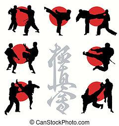 空手, kyokushin, セット, シルエット