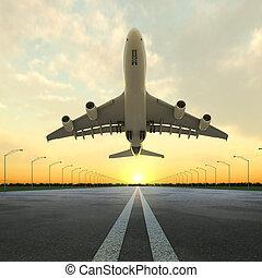 空港, 飛行機, 日没, 離陸
