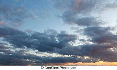 空, 日没, 曇り
