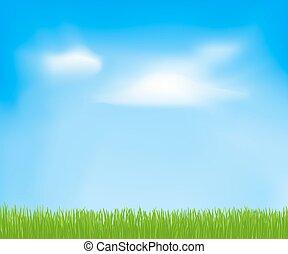 空, 春, 抽象的, 雲, grass., ベクトル, 緑の背景, デザイン, あなたの, テンプレート