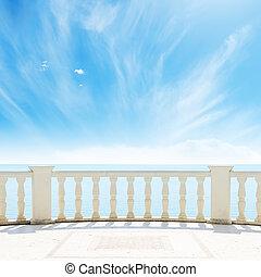 空, 曇り, 海, 下に, バルコニー, 光景