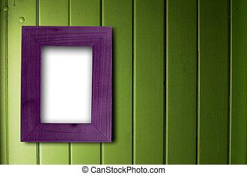空, 紫色, フレーム, 壁, 木製である, 部分, 緑, 内部, 白, 固定, 色