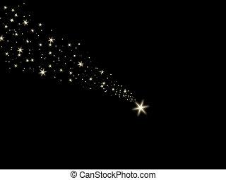 空, 落ちる, 夜, 星, 黒