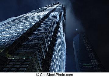 空, 超高層ビル, 夜