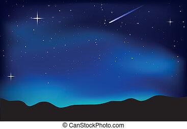 空, 風景, 夜
