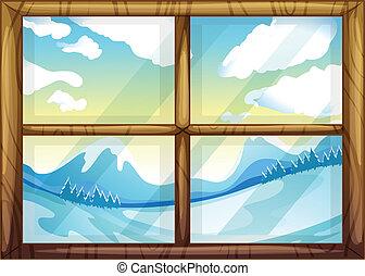 窓の冬, 光景