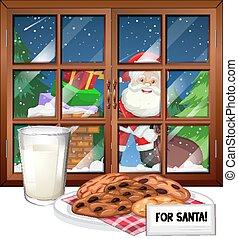 窓の眺め, クリスマス, santa, 夜