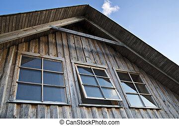 窓, カーテン, なしで, 3, 家