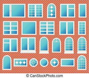 窓, セット, ベクトル, プラスチック