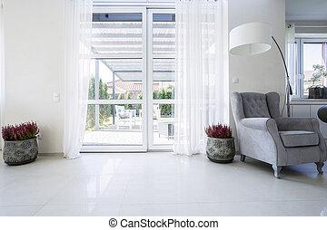 窓, バルコニー, 庭, 光景