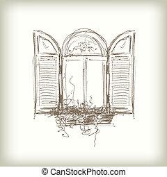 窓, ベクトル, 落書き