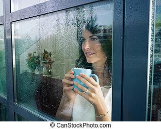 窓, 女, 凝視