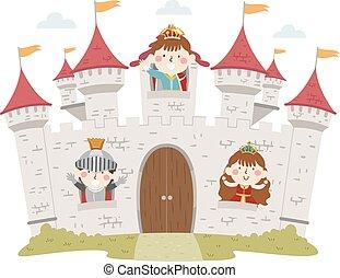 窓, 子供, 城, イラスト, 中世