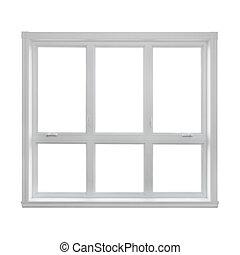 窓, 現代, 隔離された, 背景, 白