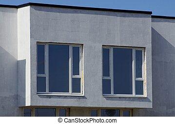 窓, 白, 広場, コンクリート, 灰色, 2, 壁