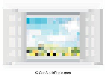 窓, 花, 開いた, 光景