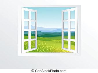 窓, 開いた, 自然