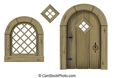 窓, 骨董品, 木製である, アーチ形にされる, ドア