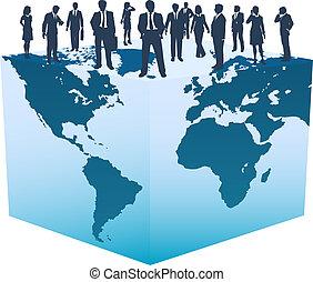 立方体, ビジネス 人々, 世界的である, 世界, 資源
