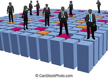 立方体, ビジネス 人々, 会社, 仕事のチーム, 抽象的