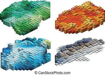 立方体, ベクトル, 背景, 3d