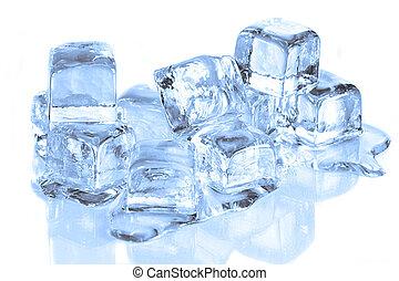 立方体, 反射, 溶けること, 表面, 涼しい, 氷, 白