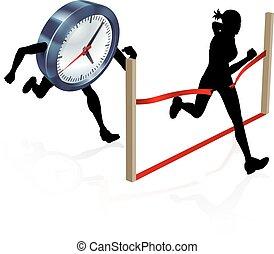 競争, に対して, 時計