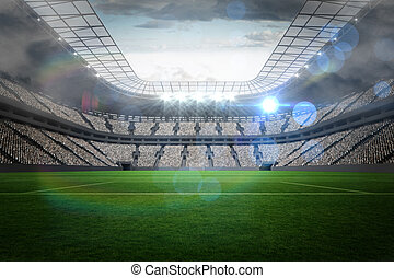 競技場, フットボール, ライト, 大きい