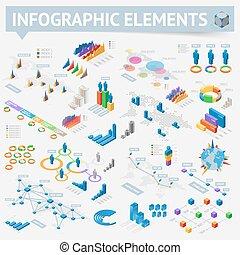 等大, デザインを設定しなさい, 要素, infographics