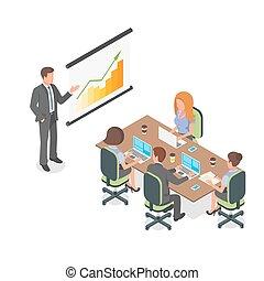 等大, ビジネス 実例, ベクトル, meeting., プレゼンテーション, ∥あるいは∥, 3d