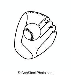 等大, ボール, スタイル, 手袋, 野球, アイコン, 3d