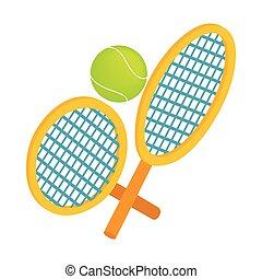等大, ボール, テニス, スタイル, ラケット, アイコン, 3d